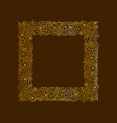 decorative frame of gold doodle floral elements vector image