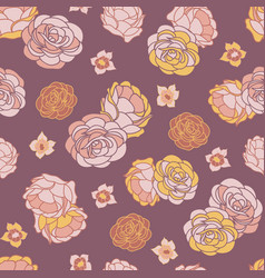 desert rose garden seamless repeat pattern vector image