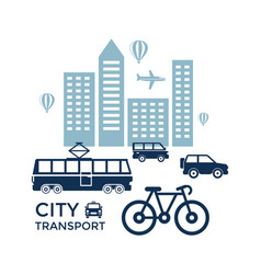 digital blue city transport vector image