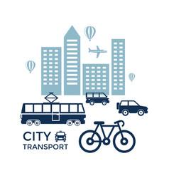 digital blue city transport vector image