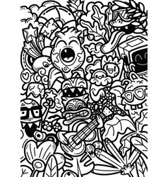 Doodle monsters hand drawn vector