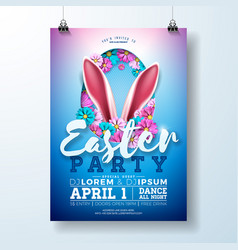 Easter party flyer with rabbit vector