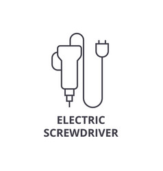 Electric screwdriver line icon sign vector