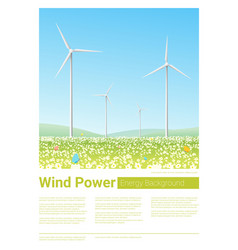 energy concept background with wind turbine 4 vector image