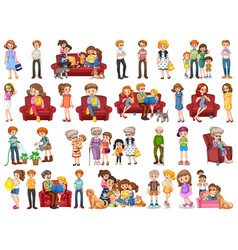 Family member cartoon character in several vector
