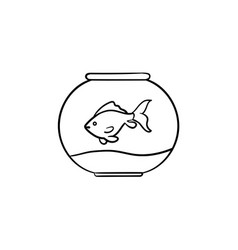 Fishbowl hand drawn sketch icon vector