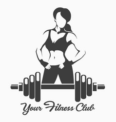 Fitness emblem with posing sporty woman vector