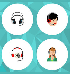 Flat hotline set of earphone headphone operator vector