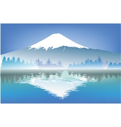 fujisang mountain with reflection water vector image vector image