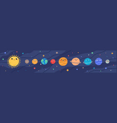 Funny childish planets in row flat vector
