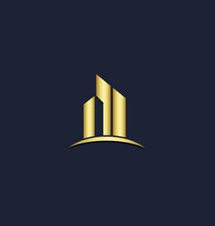 gold building cityscape logo vector image