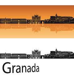 Granada skyline in orange background vector image
