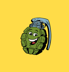 Grenade cute smiley face character vector