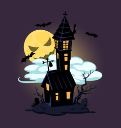 Halloween old house and moon design vector
