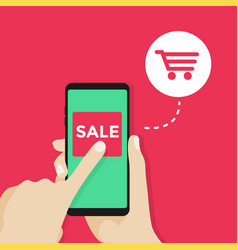 hand and mobile phone with sale button vector image