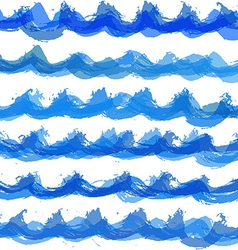 Hand drawn watercolor wave pattern vector image vector image