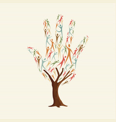 Hand shape tree made of people for social help vector
