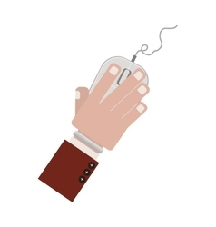 Hand with computer mouse and wired vector