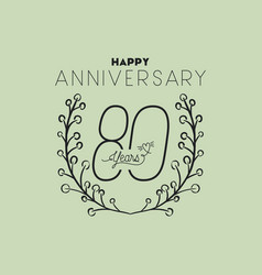 Happy anniversary number eighty with wreath crown vector