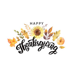 Happy thanksgiving text with watercolor vector