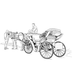 Horse drawn carriage vector image