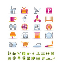 Hotel and motel objects icons vector