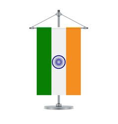 Indian flag on metallic cross pole vector