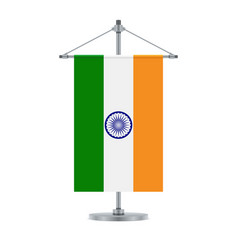 Indian flag on the metallic cross pole vector