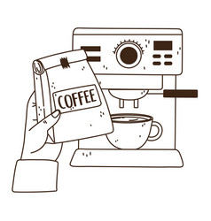 International day coffee hand with package cup vector