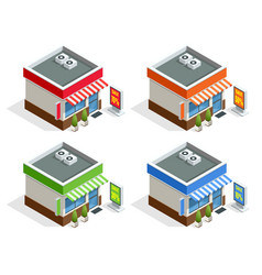 Isometric modern fast food restaurant or shop vector