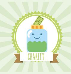 Kawaii jar banknote money donate charity image vector
