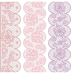 Lace fabric seamless borders with abstract flowers vector