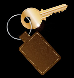 Leather key fob with key vector
