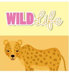 Leopard wildlife animal cartoon vector