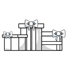 line nice presents gifts to merry christmas vector image