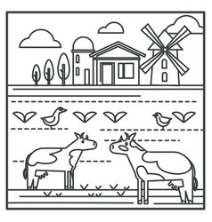 livestock animals and mill country house and vector image