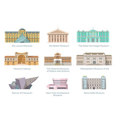 Most famous museums in whole world vector