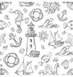 Nautical doodle seamless pattern with sea vector