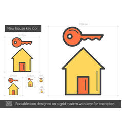 New house key line icon vector
