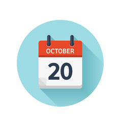 October 20 flat daily calendar icon date vector