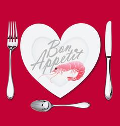 on a plate with a heart shape lies a shrimp vector image