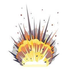 One big cartoon bomb explosion on ground vector