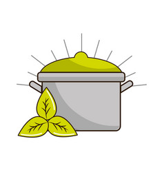Organ food with pot kitchen and leaves vector