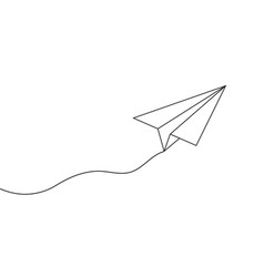 Paper line plane sketch of airplane with path vector