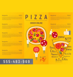 Pizza menu flyer vector