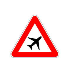 plane icon on triangle red and white road sign vector image