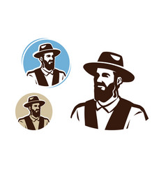 Portrait a jewish man logo judaism vector