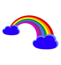 rainbow with clouds icons in a color vector image