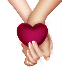 realistic holding hands and heart vector image