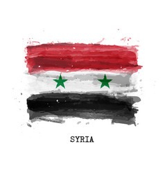 realistic watercolor painting flag syria vector image